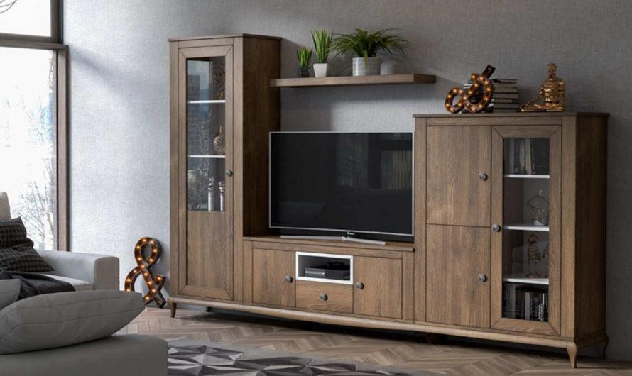 Salones contemporáneos EVA, muebles naturales en chapa de roble